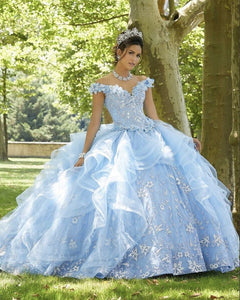 Light Sky Blue Princess Quinceanera Dress 2021 Off Shoulder Appliques Sequins Flowers Party Sweet 16 Gown Vestidos De 15 Años