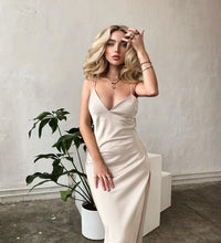Load image into Gallery viewer, Women Satin Spaghetti Strap Dress Sexy Deep V Neck Backless Nightclub Dresses 2021 Summer Elegant High Split Party Midi Dress