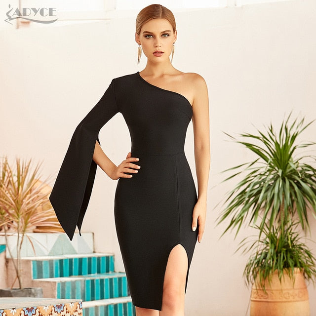 Adyce 2021 New Summer Women Black One Shoulder Bandage Dress Sexy Full Sleeve Midi Celebrity Evening Runway Party Bodycon Dress