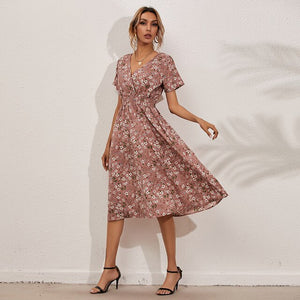 2021 New V-neck Casual Fresh Foral Summer Casual Party Short Sleeve Prom Beach Elegant Dresses for Women