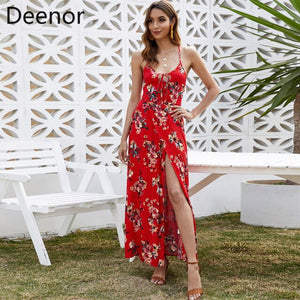 WYBLZ 2021 Summer Sexy Maxi Dress Slit Backless Flower Print Boho High Waist Long Lace-up Red Bohemian Holiday Casual Dress