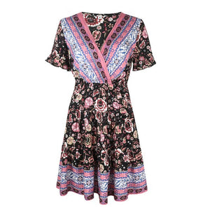 WYBLZ Sexy Boho Dress Women Summer V-neck Frill Trim Half Sleeve Lace Up Backless High Waist Casual Print Ruffle Short Dress