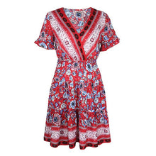 Load image into Gallery viewer, WYBLZ Sexy Boho Dress Women Summer V-neck Frill Trim Half Sleeve Lace Up Backless High Waist Casual Print Ruffle Short Dress