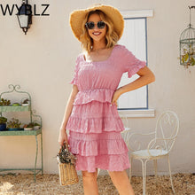 Load image into Gallery viewer, WYBLZ Elegant Ruffled Women Summer Dress High Waist Short Sleeve Solid Female Short Dress A-line Ladies Boho Party Dress 2021