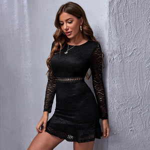WYBLZ 2021 Spring Summer Fashion Sexy O Neck Women's Mini Dress Casual Bodycon Lace Hollow Out Empire Long Sleeve Ladies Dress