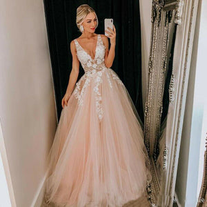 Angelsbridep V-Neck Long Evening Party Gowns 2021 Vestidos De Festa Sexy Lace-up Corset Appliques Formal Wedding Prom Dress