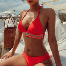 Load image into Gallery viewer, Women's Swimwear Red 2021 New Sexy Bikini Woman Swimsuits Halter Neck Bathing Suit Push Up Bandage Swimsuit for Women Beachwear