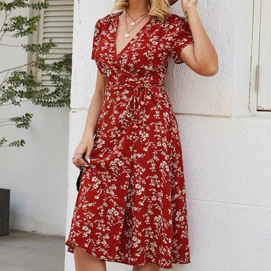 V Neck High Waist Short Sleeve Print Sexy Women's Dress