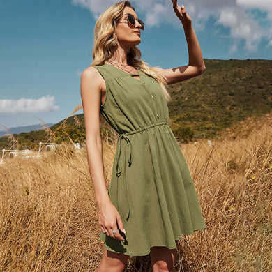 Casual V Neck Button Solid Color Drawstring Lace Up Backless Short Dress