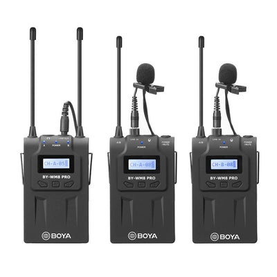 Boya BY-WM8 PRO-K2 UHF Dual-Channel Wireless Microphone System 2TX+RX Broadcast Kit