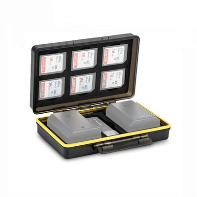 JJC BC-3SD6 2in1 Universal Battery Case fits 2x Batteries ≤ 59x39x22mm and 6x SD Cards