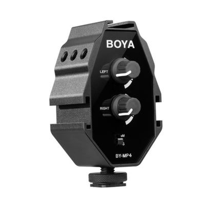 Boya BY-MP4 Aluminum Audio Mixer Adapter for Smartphones, DSLR and Camcorders - Rogitech Ltd