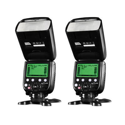 Pixel X800C Pro Version Lightweight HSS GN60 Flash Speedlite for Canon Cameras x 2 Sets - Rogitech Ltd