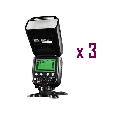 Pixel X800C Pro Version Lightweight HSS GN60 Flash Speedlite for Canon DSLR x 3 Sets - Rogitech Ltd