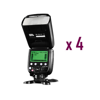 4 x Pixel X800C Pro Version Lightweight HSS GN60 Flash Speedlite for Canon DSLR - Rogitech Ltd