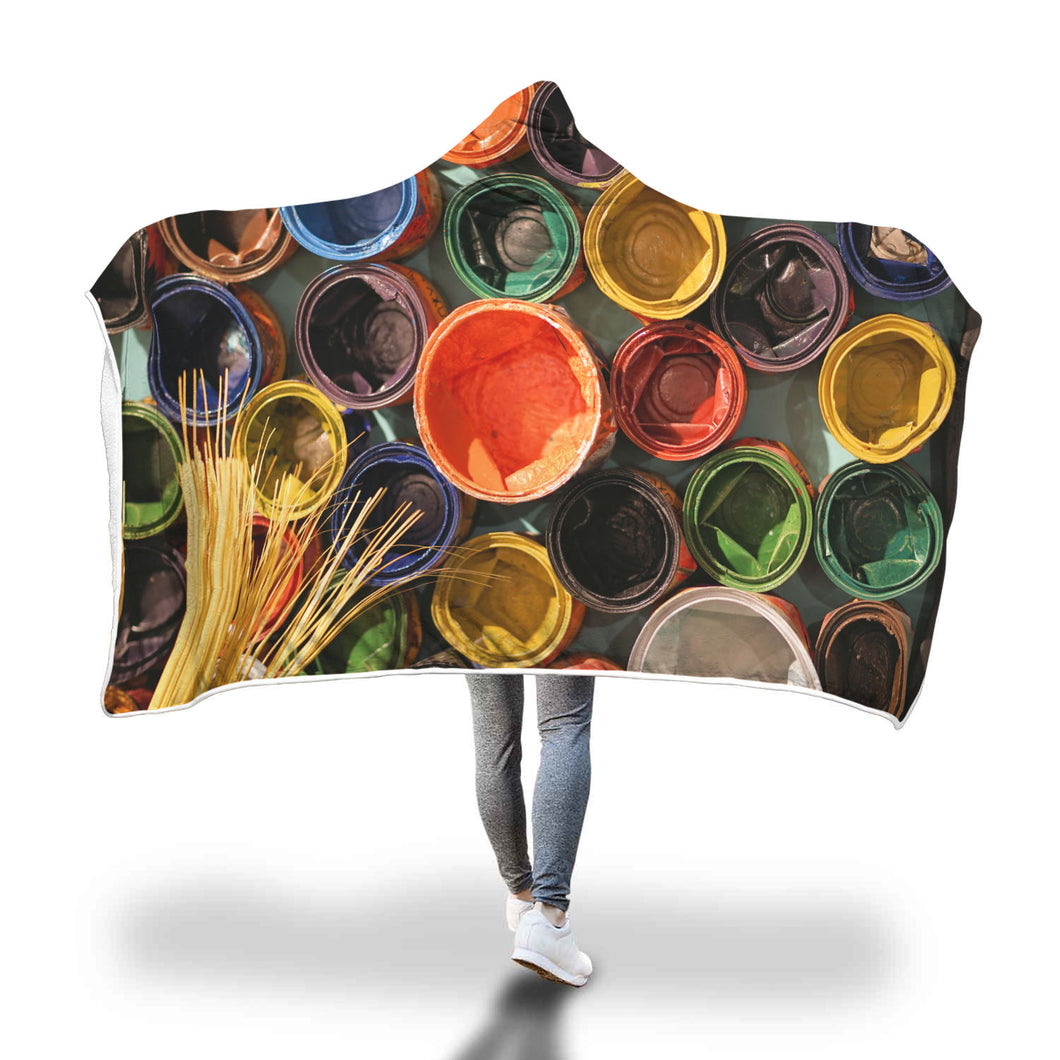 Colored Pots Hooded Blanket