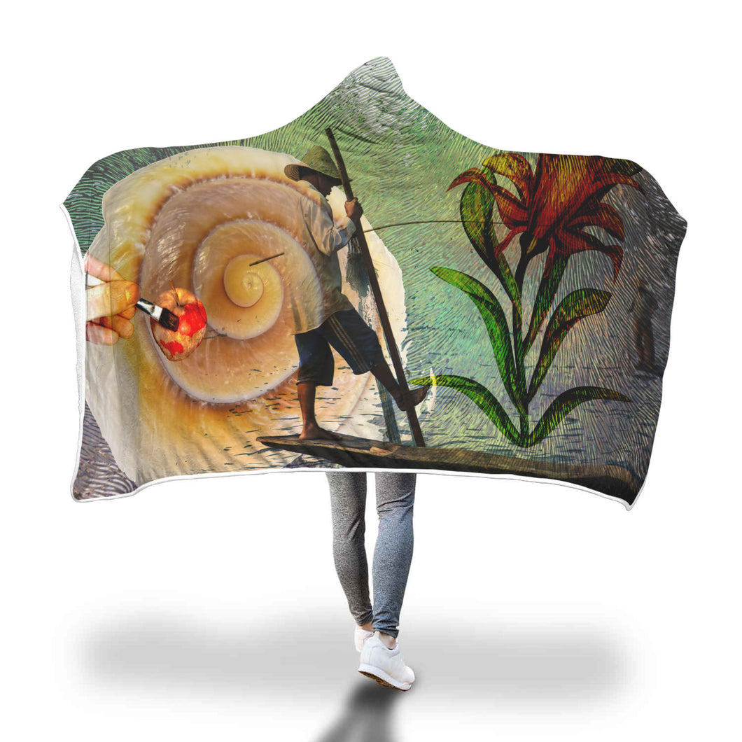 Busy Fisherman Hooded Blanket