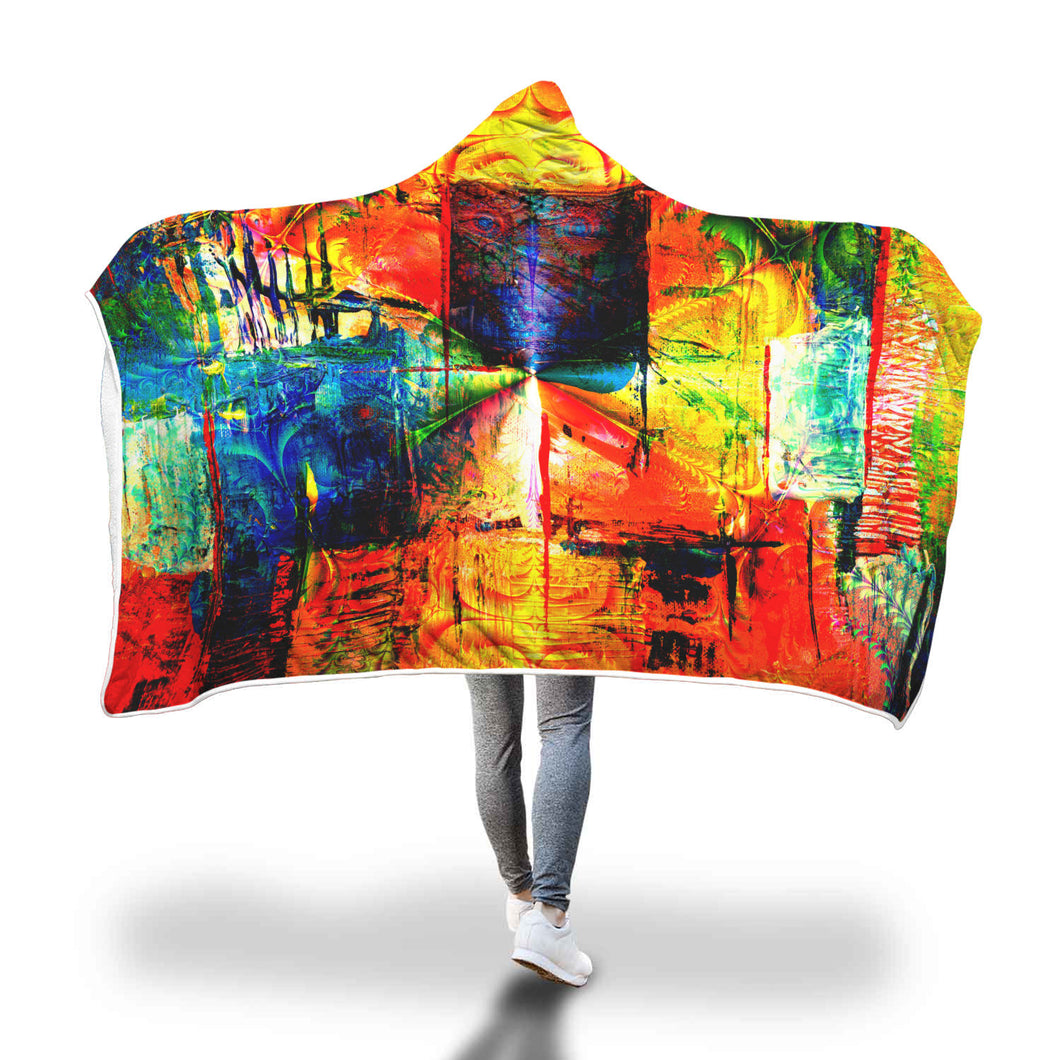Roosters Of The Sun Hooded Blanket