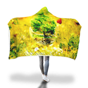 Ikebana Fragile Hooded Blanket