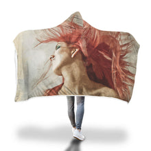 Red Splash Woman Hooded Blanket