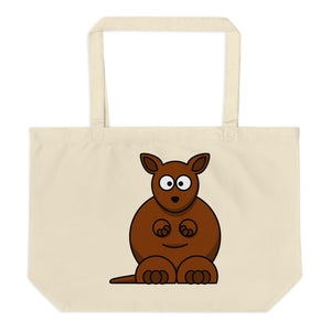 Two Bears and a Kangaroo Large Organic Tote Bag