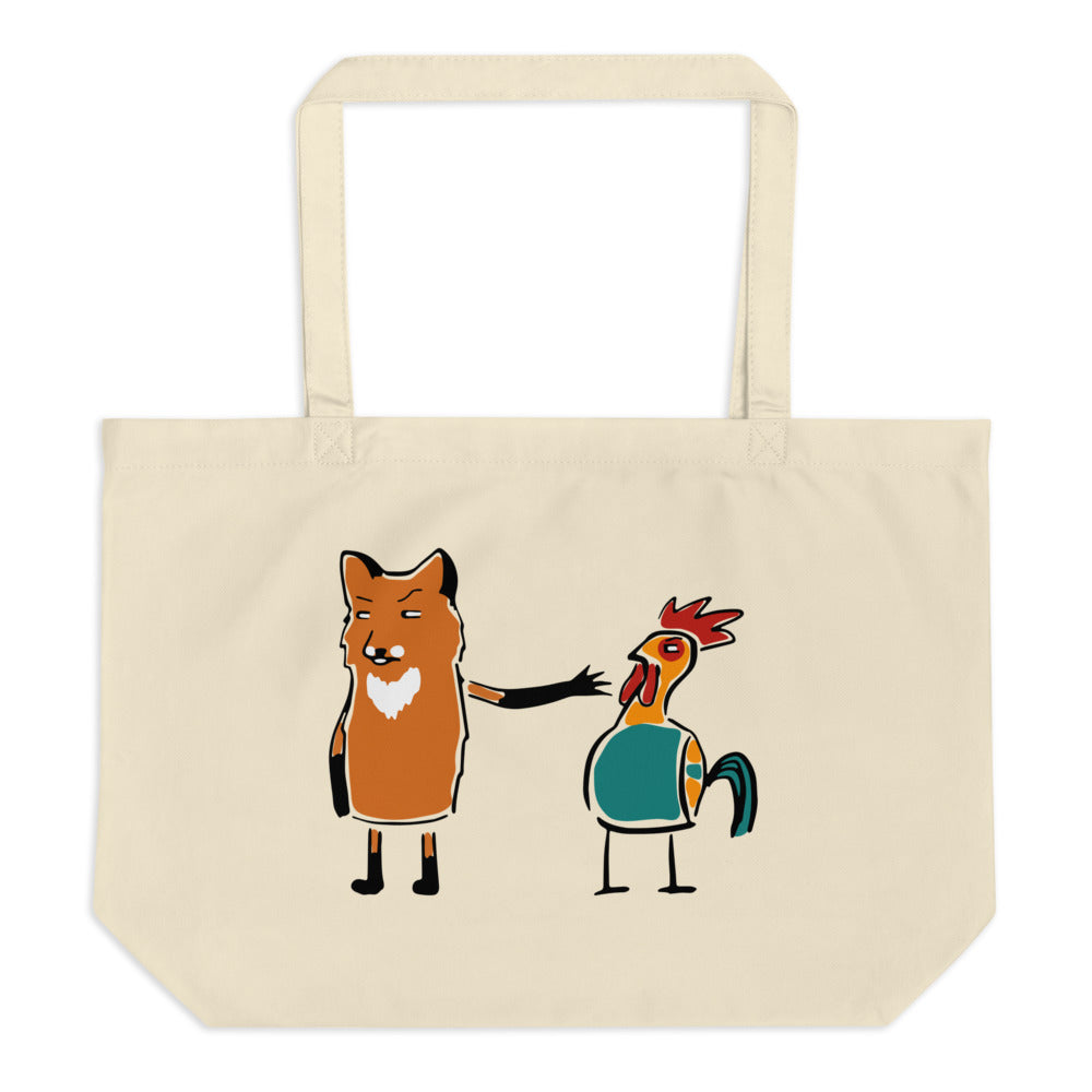 A Fox And Many Chickens Large Organic Tote Bag