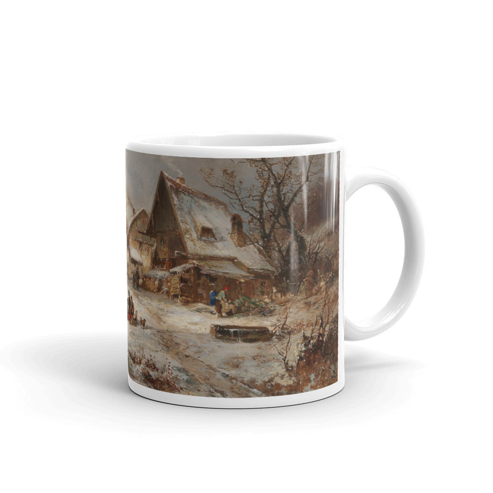 Adolf Stademann - Winter Landscape with Farmstead Classic Art Mug