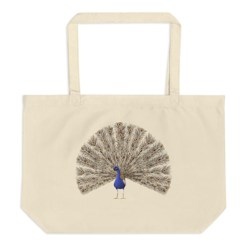A Parrot And A Peacock Large Organic Tote Bag