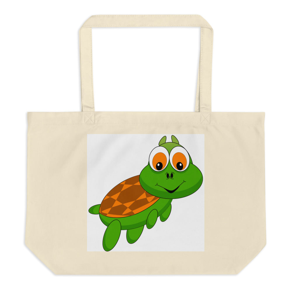 Turtle Goes to Zoo Large Organic Tote Bag