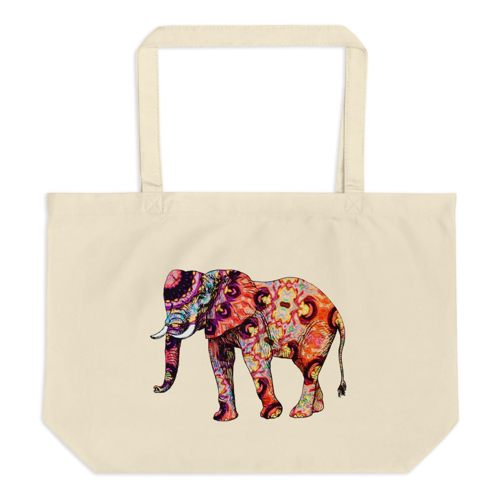 Psychedelic Elephants Large Organic Tote Bag