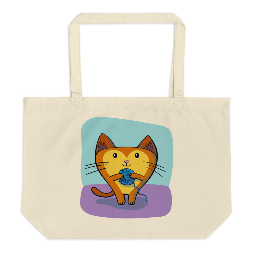 Foreseeing Cats Large Organic Tote Bag