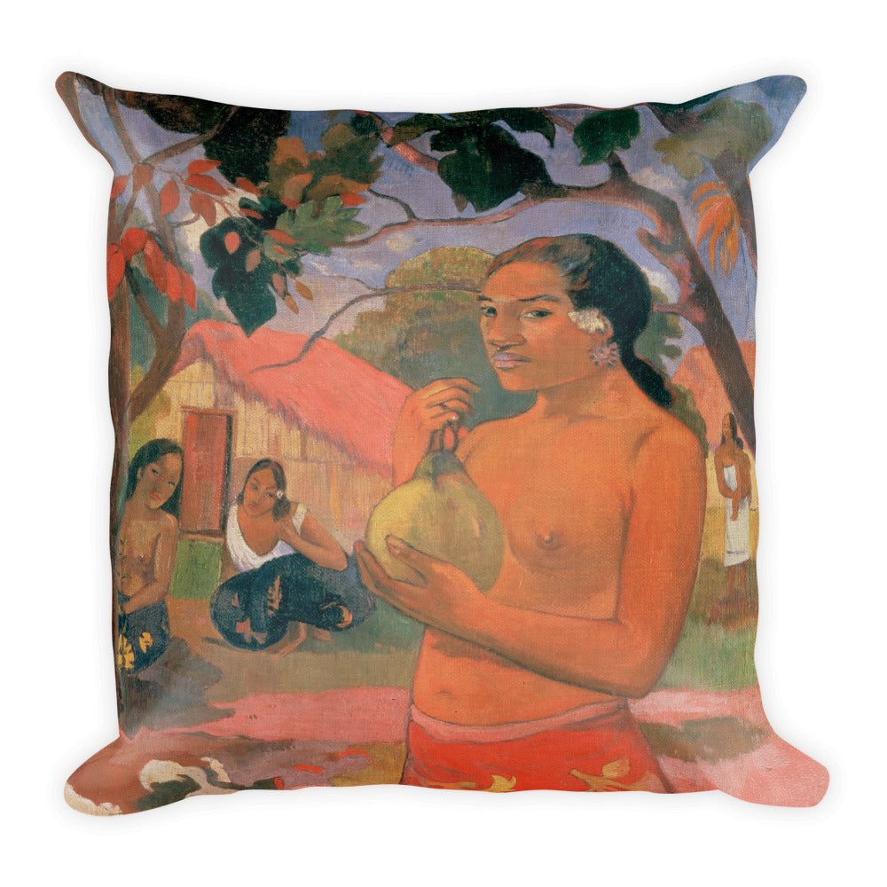Woman Holding a Fruit Premium Pillow