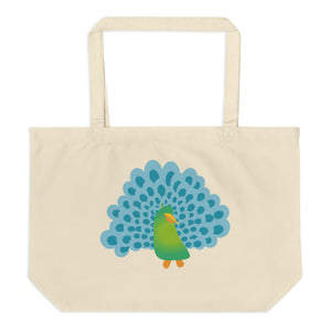 Peacocks are Happy Large Organic Tote Bag