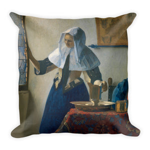 Young woman playing a guitar Premium Pillow