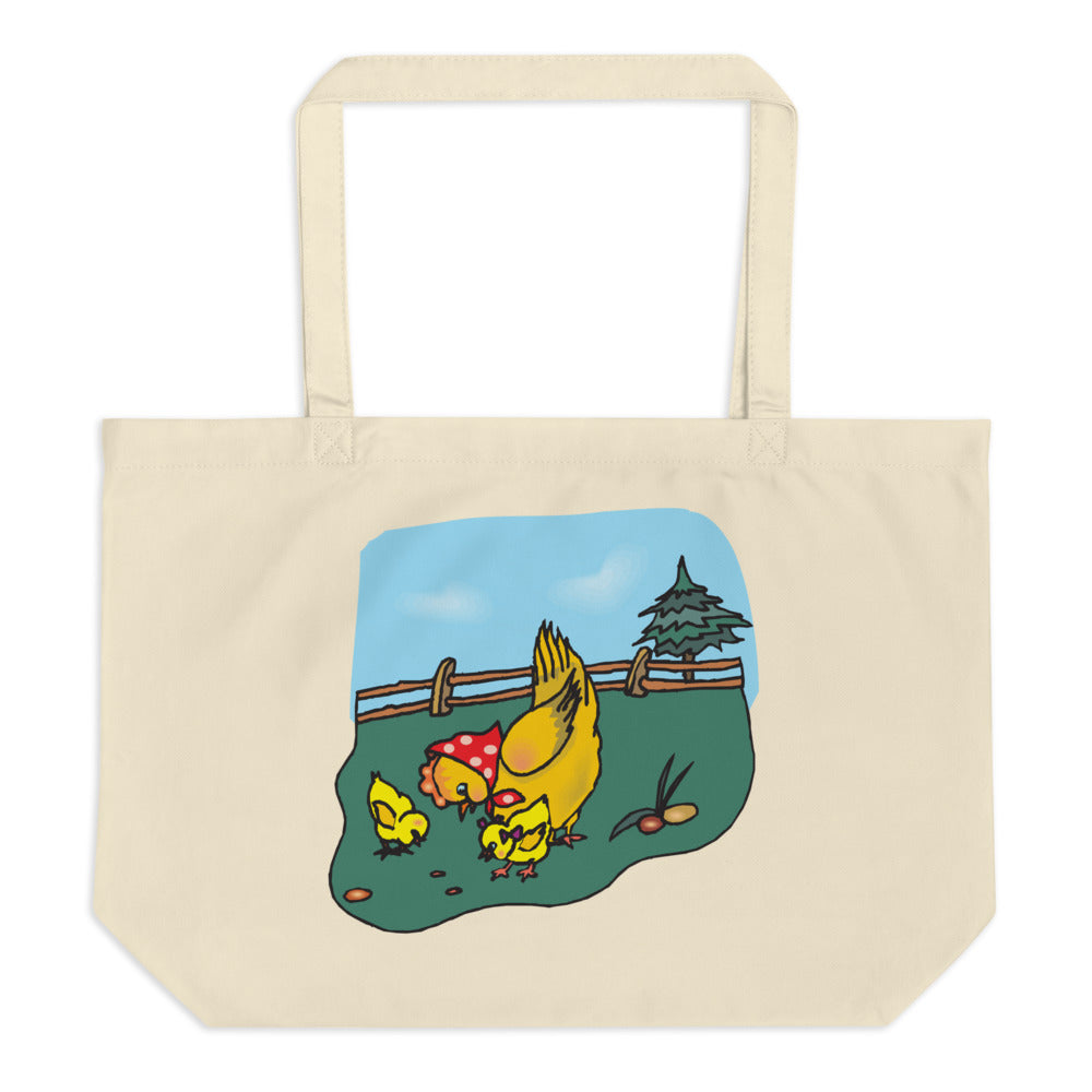 Restless Chickens Large Organic Tote Bag