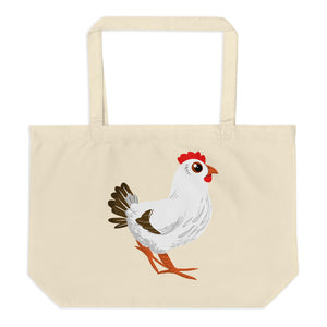 Rooster and Hen Large Organic Tote Bag