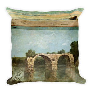 Gustave Courbet The Pont Ambroix Languedoc Pillow