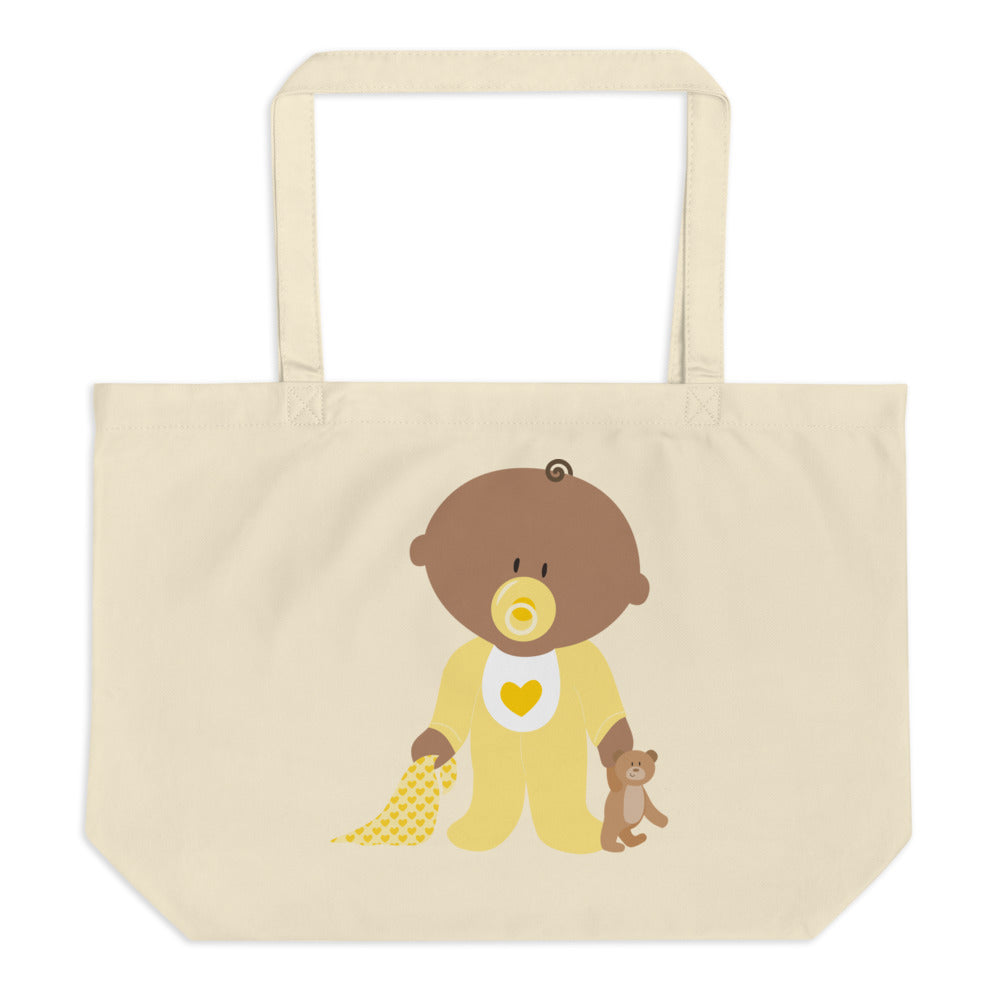 Teddy Is In Safe Place Large Organic Tote Bag
