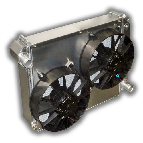 chevy nova aluminum radiator with electric fans