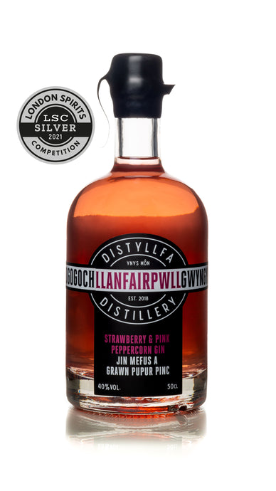 Llanfairpwll Distillery Strawberry & Pink Peppercorn Gin Award Winning Welsh Gin