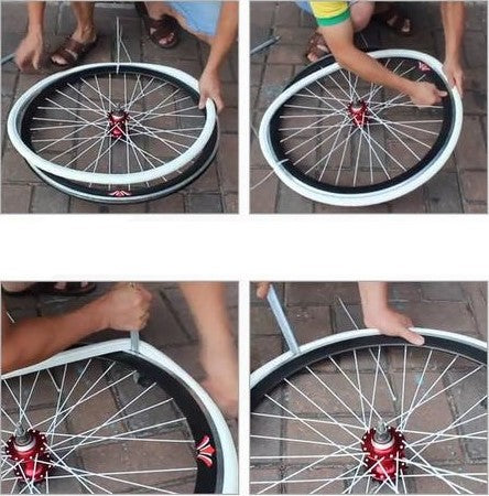 how to fit solid cycle tires to wheels