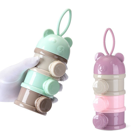 baby milk formula container with side nozzle opening