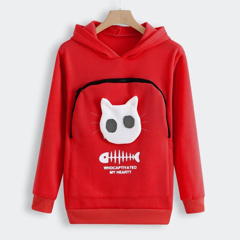 cat pouch hoodie front with peek window