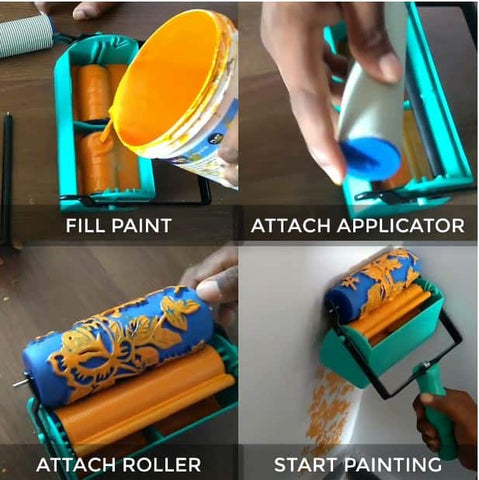 how to use design paint box with pattern roller