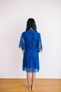 Heiress Kimono Royal Blue Robe - Yen the Label