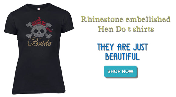 Rhinestone Embellished Bridal Hen Party T Shirts