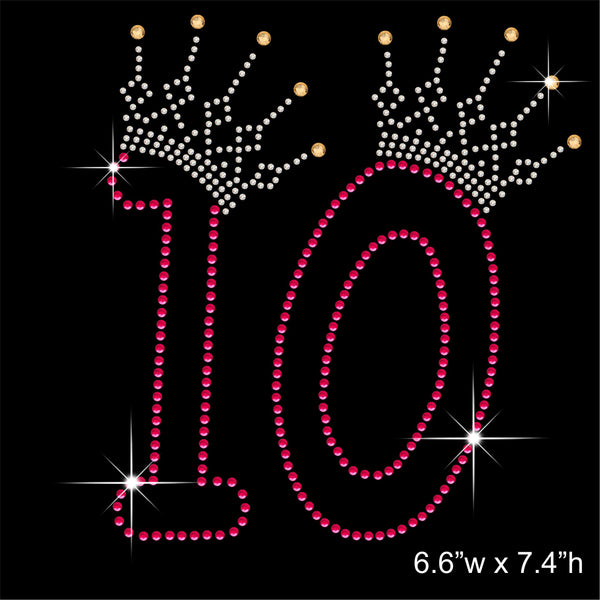 10 and Crown - Birthday Hotfix Rhinestone Transfer Diamante Motif, Iron on Applique