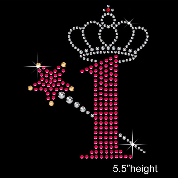1 with Crown and Wand - Birthday Hotfix Rhinestone Transfer Diamante Motif, Iron on Applique