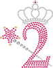 2 with Crown and Wand - Birthday Hotfix Rhinestone Transfer Diamante Motif, Iron on Applique