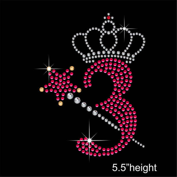 3 with Crown and Wand - Birthday Hotfix Rhinestone Transfer Diamante Motif, Iron on Applique